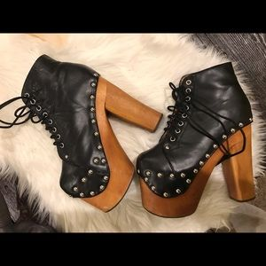 Jeffrey Campbell Lula Black Leather Platform